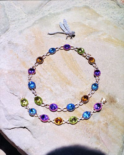 Multicolored gem and diamond necklace and bracelet and diamond firefly brooch from Gail Jewelers.