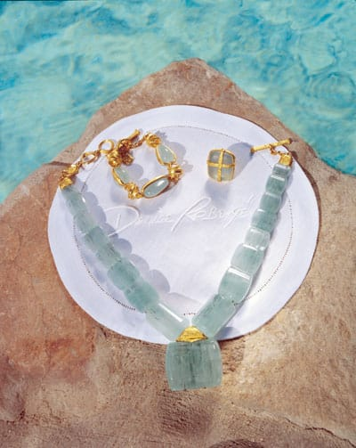 Aquamarine and 24K gold necklace, bracelet, and ring from Denise Robergé on El Paseo in Palm Desert.