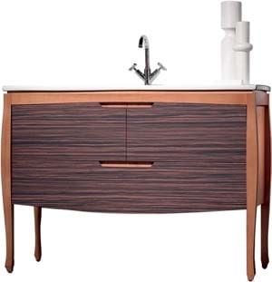The Zebra Wood Vanity by Sonia carries the look right  into the powder room; $5,278. Bath & Kitchen Elegance  of the Desert, 75-105 Merle Dr., Palm Desert. 568-9300, (888) SONIA-US