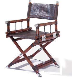 Made of a Malacca cane frame (in black or brown finish) with stainless steel details, the Ciack Folding Chair really calls the shots; $1,517. Pictured in brown Ancestor leather with patchwork detail; other leathers available. Passages, The Atrium Design Center, 69-930 Highway 111, Rancho Mirage, 328-4550.