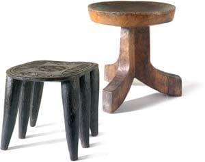 The curved-top of this Ethiopian three-legged stool (far right) also functions as a wash basin, $295. A six-legged stool from the Nupe tribe in Kenya (right) has a decorated top; $375. Each is carved from a single piece of wood. Things I Like, 668 N. Palm Canyon Dr., Palm Springs. 318-9632.