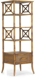 Maximize storage in narrow spaces with the rattan Nigel Etagere's five shelves and a drawer; $795. Mitchell Gold + Bob Williams, 441 S. Palm Canyon Dr., Palm Springs. 778-1888