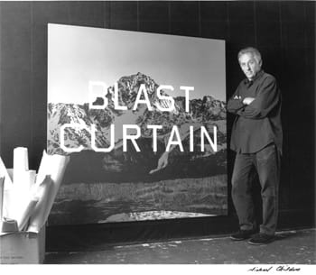 Ed Ruscha with Blast Curtain at his Venice Studio (2001) Silver gelatin print Photographed by Michael Childers
