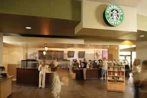Desert Springs guests enjoy the convenience of an in-house Starbucks — the largest outlet in the company's extensive chain.