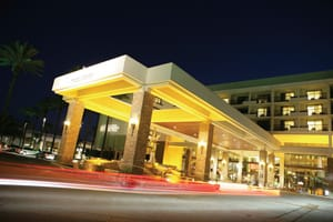 An impressive porte-cochere offers arriving guests their first impression of Desert Springs JW Marriott Resort & Spa.