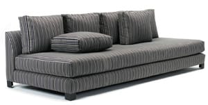 Skinny stripes stray just far enough from typical solid-colored seating on the Broome Sofa from Desiron. Lengths are 72 inches ($2,650), 84 inches ($2,900), and 96 inches ($3,300). Prices do not include upholstery. Available from the company's West Hollywood boutique at 631 N. Robertson Blvd., (310) 289-1600, www.desiron.com.
