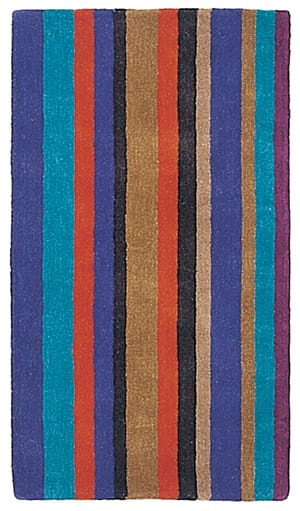 Bright enough for kids but of grown-up quality, the plush Clown Rug by Nani Marquina playfully alternates colors and thicknesses of its stripes. It's handmade in India from 100 percent New Zealand wool and comes in three sizes; $900-$1,800. (800) 830-7847, www.modernrugs.com.