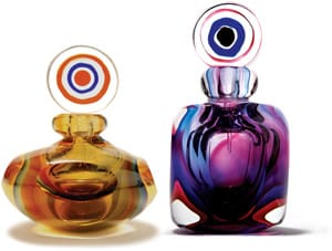 Your signature scent belongs in these glass apothecary perfume bottles with concentric circles stoppers; $25 each. Dann Foley California, 1580 S. Palm Canyon Dr., Palm Springs, 322-1007, www.dannfoley.com.