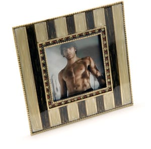 Frame your main squeeze in this striped enamel picture frame with rhinestone accents; $45. Dann Foley California, 1580 S. Palm Canyon Dr., Palm Springs, 322-1007,