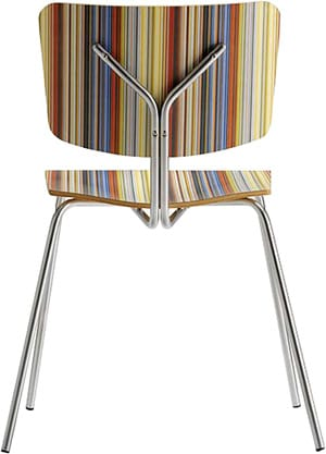 Made in Italy exclusively for Design Within Reach, the B-Pop Side Chair by Omar de Biaggio adds a peppy melamine laminate stripe to a beech plywood seat and back with satin chromed stainless steel legs; $218. Design Within Reach, www.dwr.com.