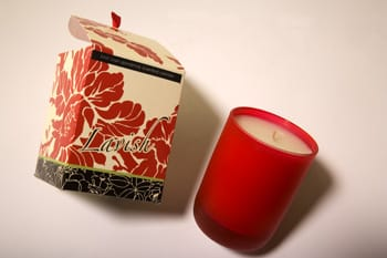 First Love Gardenia is the scent of this Lavish soy wax candle poured in a frosted red glass holder. Each is handcrafted in New York City by Joya; $18. The Artful Garden, 1572 S. Palm Canyon Dr., Palm Springs, 864-6551, Photo by Taylor Sherrill.