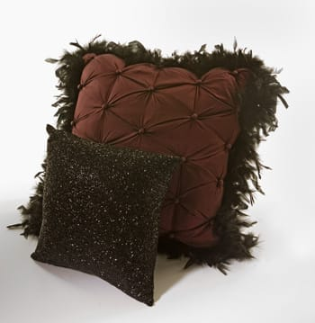 Don't leave your couch or bed naked: Dress them up with throw pillows that speak louder than words. Silk-button Henna pillow with black boa trim is 20x20-inch and feather-down filled; $106. Made exclusively for Stray Dog Designs, 67-772 E. Palm Canyon Dr., Cathedral City,328-0648. Black beaded pillow; $45. Dann Foley California, 1580 S. Palm Canyon Dr., Palm Springs, 322-1007, www.dannfoley.com. Photo by Taylor Sherrill.