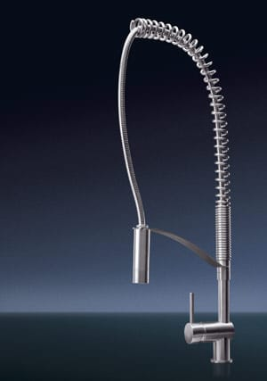 From top: MGS Randa-KL stainless steel faucet with flexible hose.