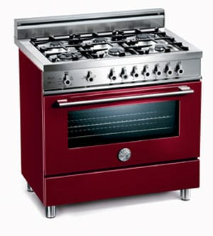 The Italian-made Bertazzoni 36-inch, 6-burner gas range comes in nine modern colors including Vino/Burgundy (above).