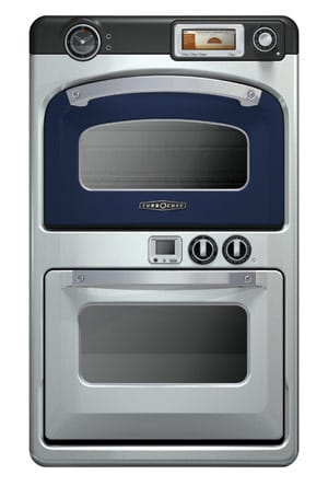 The Turbochef 30-inch Double Wall Speedcook Oven in  Evening Blue uses restaurant technology to cook a meal  up to 15 times faster than conventional mentods.