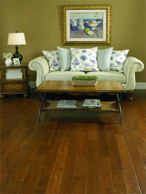 Part of the Liz Claiborne Prestige Collection of hardwood floors, these 4 1/2-inch planks of hickory wood are from their Caroline line. Liz Claiborne wood flooring is available locally at Powers Carpet One in Rancho Mirage.