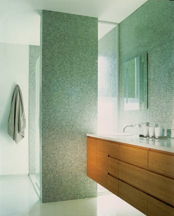 Every avid swimmer needs a great place to shower. This one features recycled-glass tile. The vanity with integral pulls was designed by Mark Nichols of formaldehyde-free bamboo with cold-pressed laminate interiors.