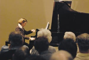 Shown at the Rancho Mirage Public Library, 24-year-old Karina Sabac has become a crowd-favorite not only because of her passionate and skillful playing, but also because she explains to the audience the pieces she performs.