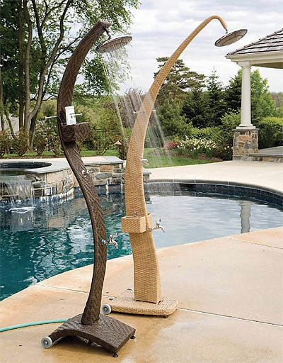A wave of dark or natural weather-proof wicker creates these freestanding Sabbia outdoor shower stations by Alfresco Home. They attach to an outdoor hose and have a pocket to store your post-pool conditioner; $449. www.alfrescohome.com.
