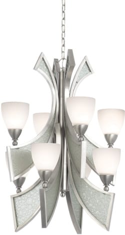 If Modern met Art Deco and built a chandelier, it might look something like this one from the Oceana Collection. The satin nickel finish and textured glass combine in an interesting icy effect; $999. The Lighthouse Lighting Showroom, 73-605 Dinah Shore Dr., Ste. 1403, Palm Desert, 760-770-8331.