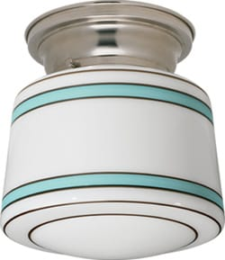 Two aqua bands ring this 1940s-inspiredOtis fixture in satin nickel; $65. (800) 630-7113, www.schoolhouseelectric.com.