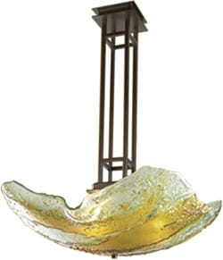 Made by Z Glass Art, this 25-inch square Slump Glass Pendant in amber/sage/bronze is a feast for the eyes above any dining room table; $2,620. McClellan Lighting Gallery, 74-869 Joni Dr., Ste. A, Palm Desert, 760-346-9447.