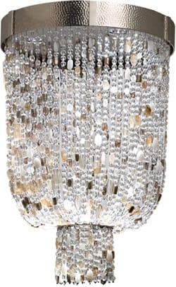 Go for the glitz and the glamour with a waterfall of beaded light with the Lavalier by Thomas Fuchs for Boyd's Kentfield Collection. Semiprecious stones, crystal, and Venetian beads evoke a dazzling opulence that reflects and refracts every last ray of light. Bring on the bling in two ceiling-mounted sizes; $12,839 and $16,519. To the trade at Donghia Showroom, Pacific Design Center, 8687 Melrose Ave., Ste. G196, Los Angeles, (310) 657-6060.