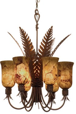 Palm leaves lend the flavor of the tropics to this Naples Collection chandelier with a tortoise shell finish; $1,399. The Lighthouse Lighting Showroom, 73-605 Dinah Shore Dr., Ste. 1403, Palm Desert, 760-770-8331.