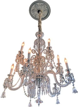 An early 1800s Irish Waterford 10-light chandelier impresses with 10, two-tiered crystal arms with crystal bobesches and sterling silver mounts. Adorned with rope crystal scrolls, crystal beaded chains, crystal prisms, and crystal bells, it was converted to electric in the early 1900s; $26,000. Early Lighting, 79-893 Country Club Dr., Ste. 3, Bermuda Dunes, 760-772-0078.