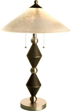The frosted glass shade of this contemporary table lamp has a raindrop effect. The base — a geometric stack of black polycrylic and spun steel — finishes at the top with dual pull-chain sockets; $195. Accessorize Your Home, 72-060 Hwy. 111, Rancho Mirage, 760-776-1404.