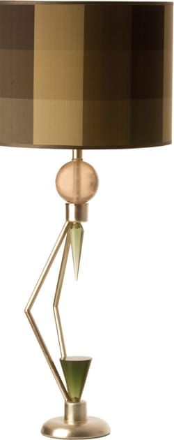 The You Will Remember table lamp with plaid shantung shade adds a splash of Art Deco pizzazz. The angles of its hand-silver-leafed iron base play off the smooth curves of its acrylic accents; $365. Accessorize Your Home, 72-060 Hwy. 111, Rancho Mirage, 760-776-1404.