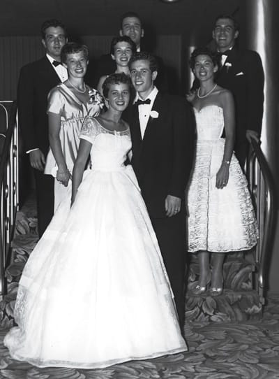 Shown are the couple with the groom's sisters and their husbands: (from left) Bea and Fred Eisen, Nancy and Siggy Levy, and Edie and Eddie Creed.