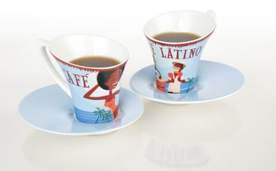 This pair of Café Latino espresso cups sets the groove for a swinging morning. Microwave and dishwasher safe, the cups can be stored in their signature tin; $23.95. Coordinating melamine tray (not shown); $14,95. Mad French Lady, 68-718 E. Palm Canyon Drive, Cathedral City, (760) 770-0220, www.madfrenchlady.com