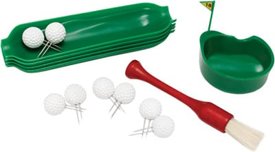 OK, they're a little corny. But what better to set out at a post-links barbecue than this corn-on-the-cob accessories set? It includes eight golf ball corn skewers, golf tee basting brush, hole-in-one microwavable butter dish, and four corn trays; $22. (888) 365-0056, www.uncommongoods.com