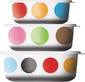 Festive melamine storage container sets with plastic lids in Multidot from French Bull are dishwasher safe, high-heat resistant, and shatterproof, though not microwave-safe. You can't have everything with these party-perfect good looks! $32/set of three. (800) 227-0314, www.plumparty.com