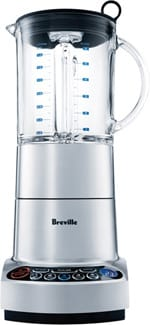 "Whether making a protein smoothie or one powerful margarita, fans of the blended beverage should see Breville's ikon Die-Cast Blender with two extra settings: ""smoothie"" and ""snow."" Hit ""smoothie"" and the blade's speed adjusts to suit what it is blending. On ""snow,"" ice cubes quickly turn to powdery white snow, ideal for frozen drinks. A food processor setting tackles pancake batter, pesto, dips, or pureed soups; $199.99. Visit www.brevilleusa.com for locations"