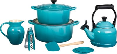 This evocative ocean hue is the latest color to be imported from French cookware company Le Creuset. The stoneware pitcher ($35), three-in-one corkscrew ($20), cast iron Round French Ovens in five- and seven-quart sizes ($200; $235), silicone large spatula spoon ($12), silicone mini cool tools ($6/set of two), and enamel-on-steel demi teakettle ($50) are among the items making a splash in the company's latest wave of color. (877) 273-8788, www.lecreuset.com