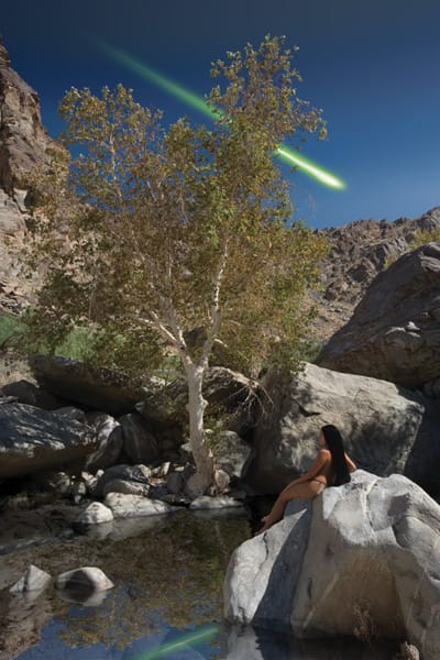 In Tahquitz Canyon, a place known as Green Tree Pool, is the site where a beautiful young Indian maiden was abducted and returned by Tahquitz, the evil shaman. Tahquitz appeared as a large green fireball streaking across the sky. It is said that his spirit still lives in the canyon.