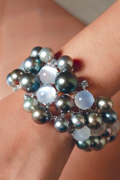 Utopia Tahitian pearl, moonstone, and diamond bracelet from Frasca Jewelers