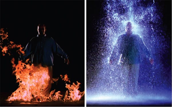 """Bill Viola's """"The Crossing,"""" a well-traveled 1996 video-sound installation at Palm Springs Art Museum this fall, recalls a line from the 13th century Persian poet Rumi, who wrote, """"You have seen the kettle of thought boiling over, now consider the fire."""" Rumi's works significantly inspired Viola."""