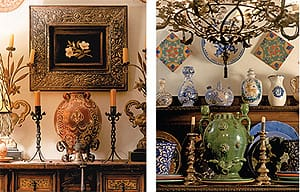 Martin Newman has created vignettes of rare Hispano-Moresque pottery, a carved Spanish cabinet, flourishes of forged iron, and pewter and silver candlesticks.