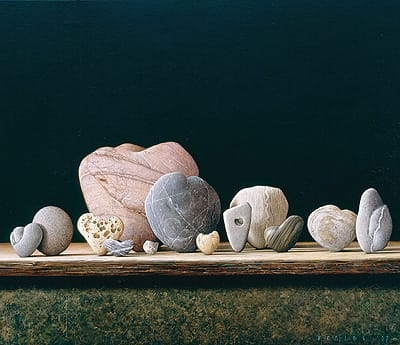Hearts of stone prevail in new works by Braldt Bralds in his Palm Desert debut.