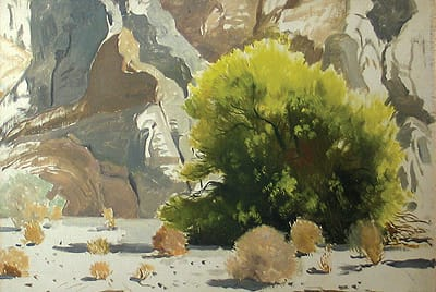 Jimmy Swinnerton's 12x16-inch Blossoming Palo Verde in a Californa Desert Canyon (c. 1945) is among important works in Edenhurst Gallery's group show of early California desert painters.