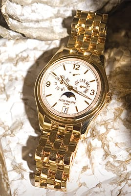 Patek Philippe 18K yellow gold watch with annual calendar from Leeds & Son Fine Jewelers. ($44,500)