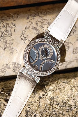 Harry Winston ladies 18K white gold and diamond retrograde watch with blue mother of pearl dial and white alligator band from Leeds & Son Fine Jewelers. ($34,900)