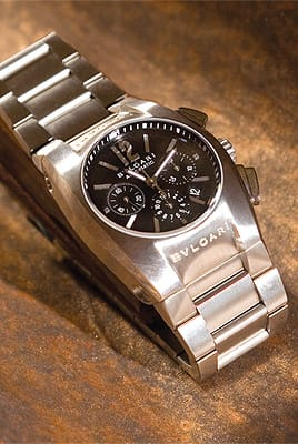 Bulgari mid-size stainless steel chronograph with black dial from Leeds & Son Fine Jewelers. ($5,200)