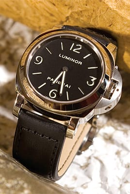 Panerai Luminor stainless steel watch from Leeds & Son Fine Jewelers. ($4,000)