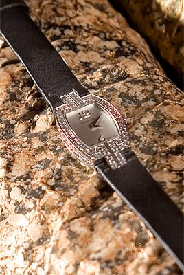 Ladies cocktail watch with diamonds and black satin strap from Tiffany & Co. ($11,000)