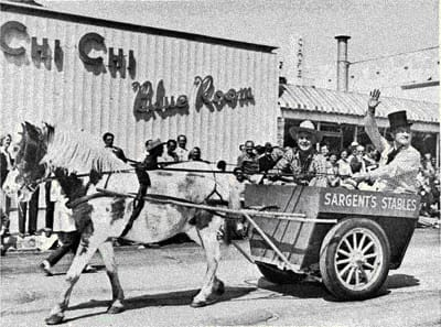 Fans lined Palm Canyon Drive to cheer these two all-time favorites, Charlie Farrell and Bob Hope, as they rode in the 1949 Desert Circus parade.