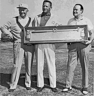 Golfer Bob with General Ike and Bermuda Dunes' Ernie Dunlevie display the famed Palm Springs Golf Classic Eisenhower trophy at Eldorado Country Club.